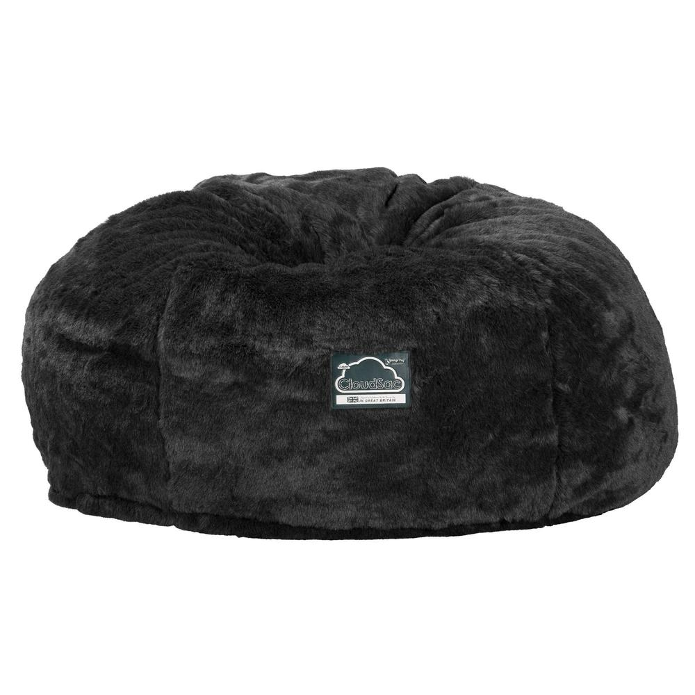 CloudSac-1010-XXL-Giant-Memory-Foam-XXL-Bean-Bag-Sofa-Fluffy-Faux-Fur-Badger-Black_4