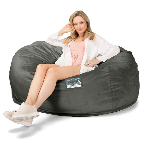 CloudSac 1010 XXL - Giant Memory Foam XXL Bean Bag Sofa - Velvet Graphite Grey