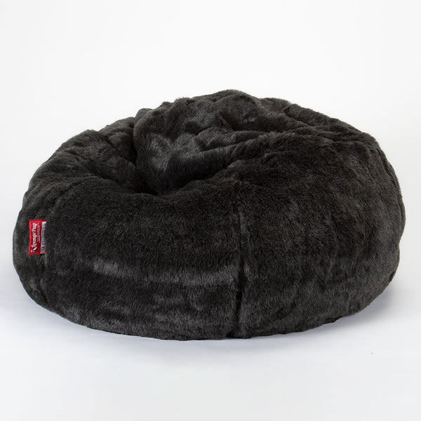 CloudSac Kids' - Memory Foam Giant Children's Bean Bag - Fluffy Faux Fur Badger Black