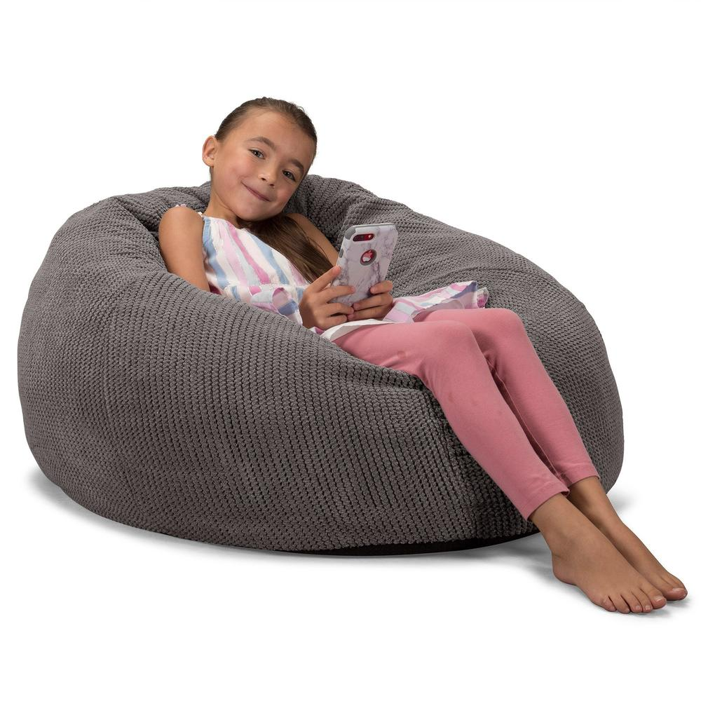 CloudSac-Kids'-Memory-Foam-Giant-Children's-Bean-Bag-Pom-Pom-Charcoal-Grey_3