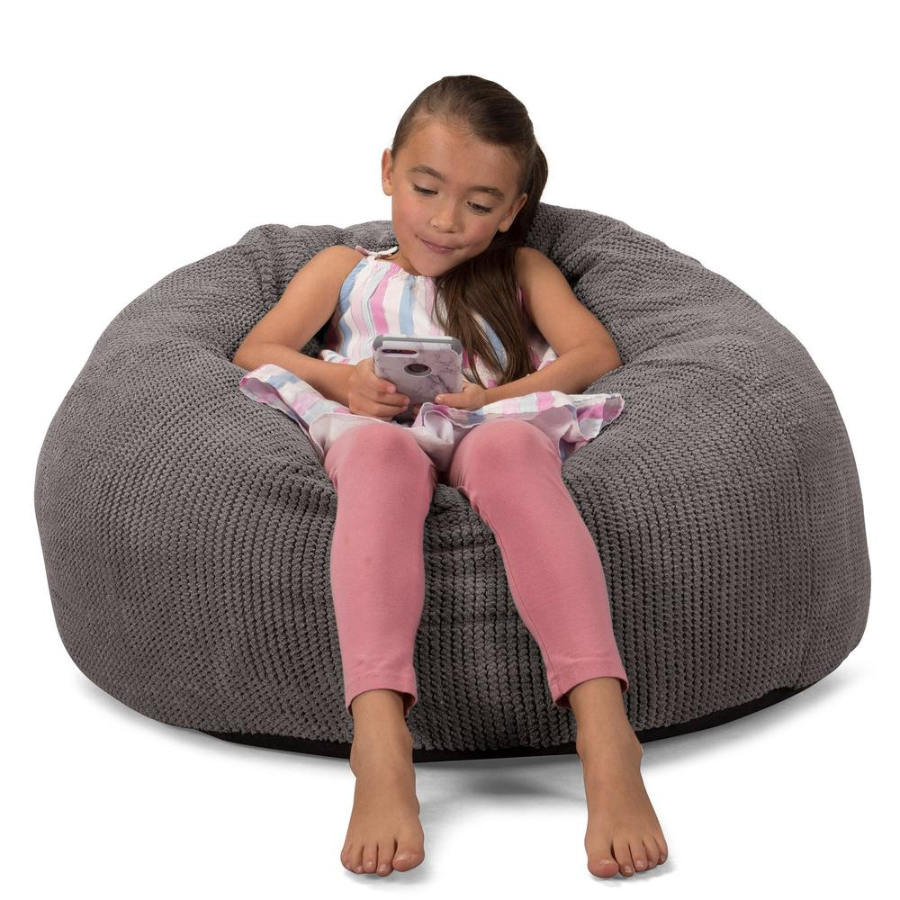 CloudSac-Kids'-Memory-Foam-Giant-Children's-Bean-Bag-Pom-Pom-Charcoal-Grey_4