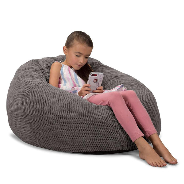 CloudSac-Kids'-Memory-Foam-Giant-Children's-Bean-Bag-Pom-Pom-Charcoal-Grey_1