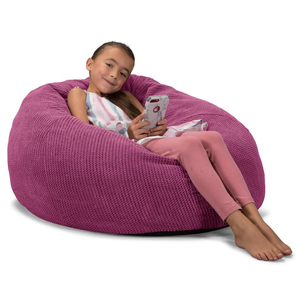 CloudSac-Kids'-Memory-Foam-Giant-Children's-Bean-Bag-Pom-Pom-Pink_3