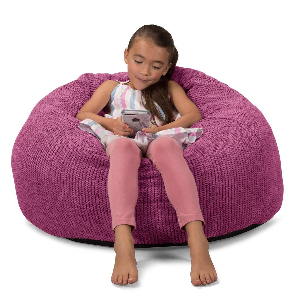 CloudSac-Kids'-Memory-Foam-Giant-Children's-Bean-Bag-Pom-Pom-Pink_4