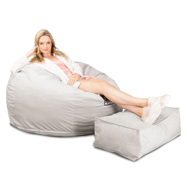 CloudSac-510-XL-X-Large-Memory-Foam-Bean-Bag-Velvet-Silver_1