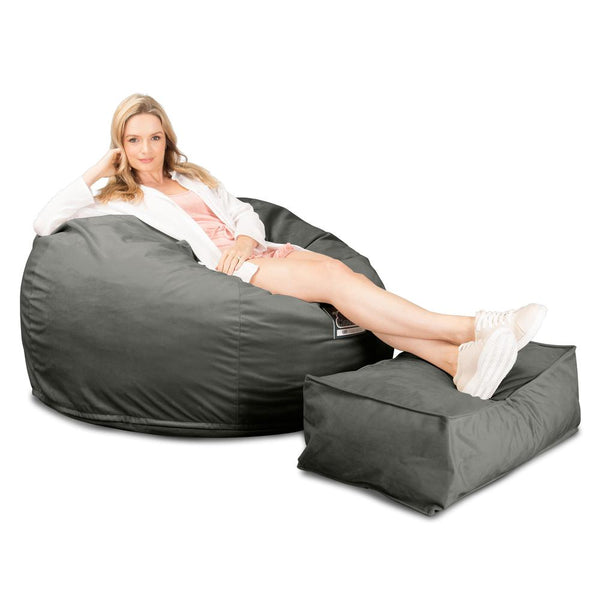 CloudSac-510-XL-X-Large-Memory-Foam-Bean-Bag-Velvet-Graphite-Grey_1