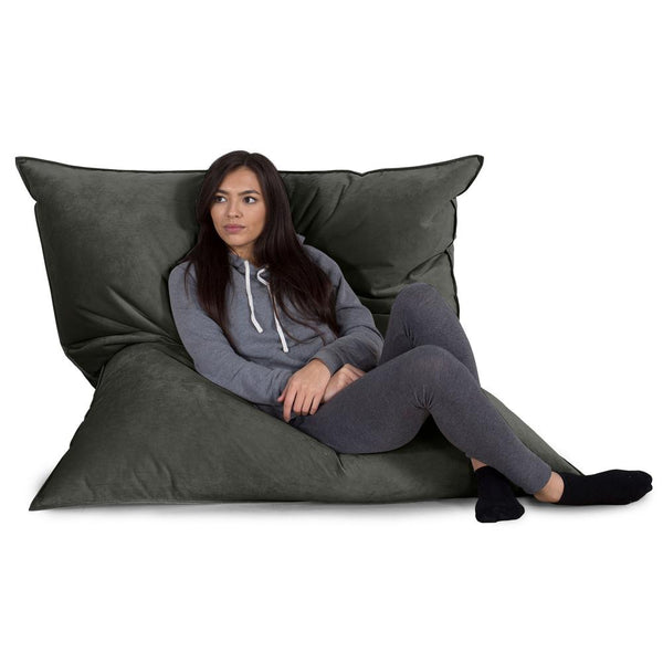 Extra Large Bean Bag - Velvet Graphite Grey