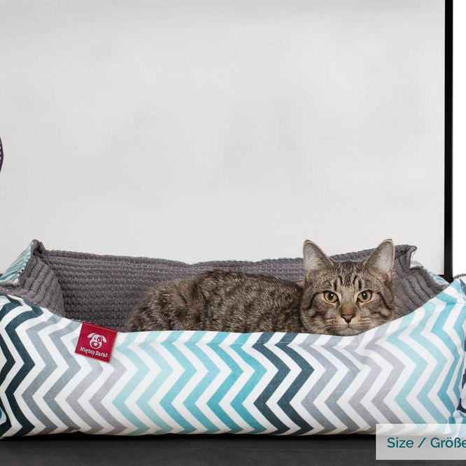 The-Cat-Bed-Memory-Foam-Cat-Bed-Geo-Print-Chevron-Teal_2