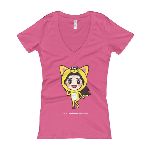 RM Single Cat Women's V-Neck T-shirt
