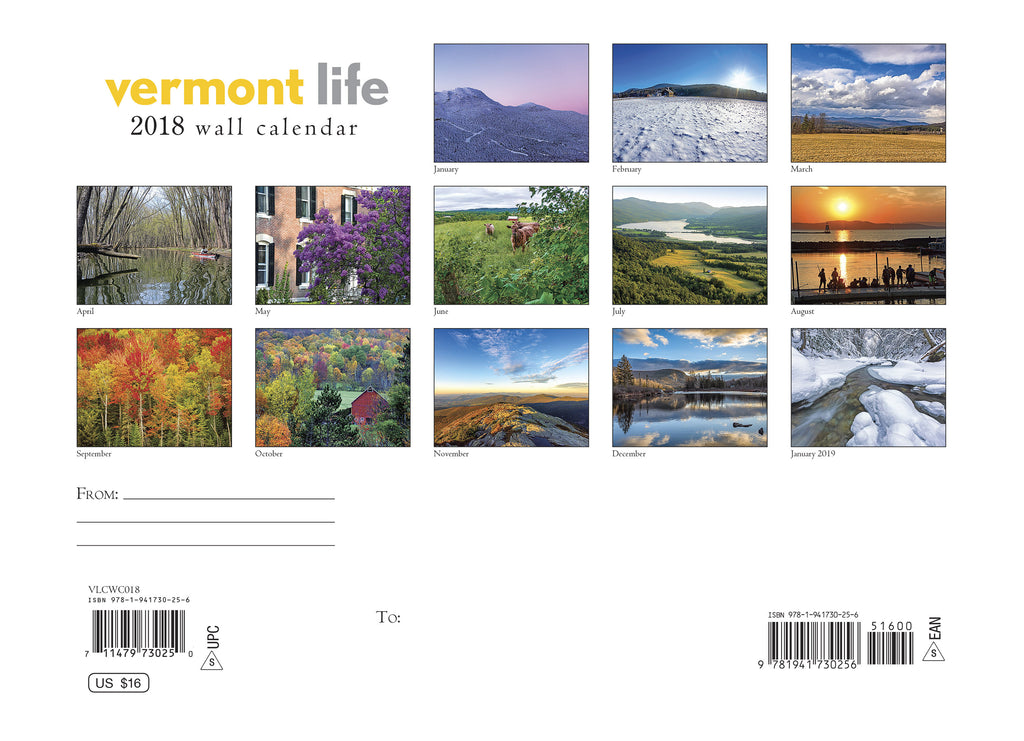 Vermont Life Classic Wall Calendar  Vermont Life Gifts