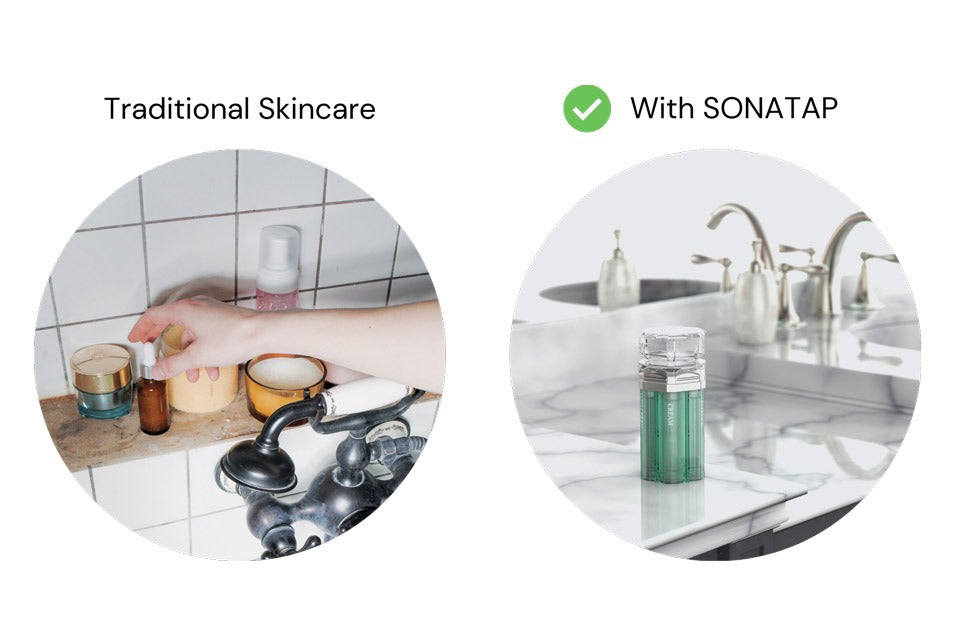sonatap-skincare-device-beauty-tool-at-home-bathroom-counter-declutter-minimalism-organization