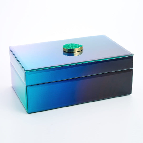 ANOUSHKA GLASS MIRROR JEWELRY BOX WITH GREEN STONE