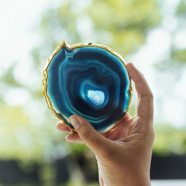 BLUE AGATE GOLD TRIM COASTERS