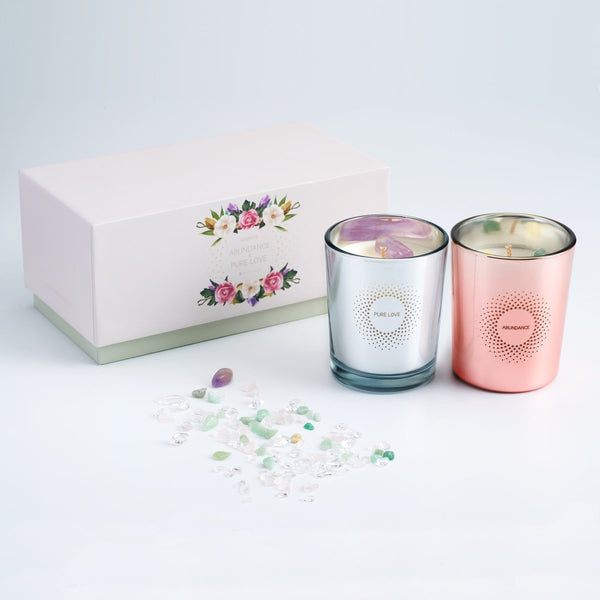 PURE LOVE & ABUNDANCE BOX SET CRYSTAL SCENTED CANDLE