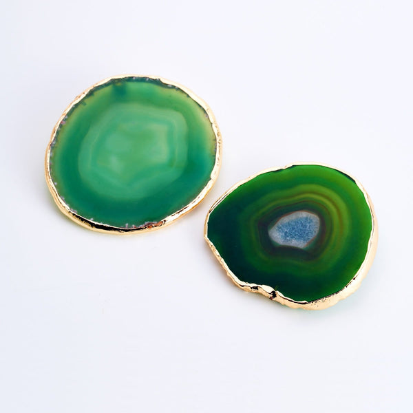 GREEN AGATE GOLD TRIM COASTERS