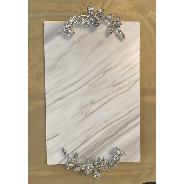 GENIE MARBLE TRAY WITH SILVER HANDLE