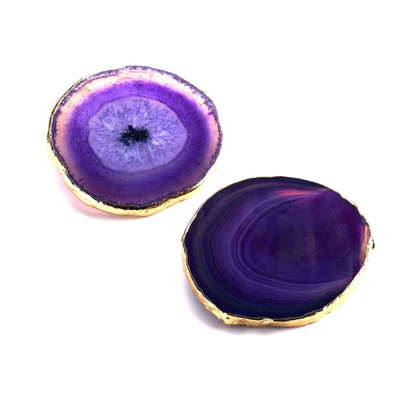 PURPLE AGATE GOLD TRIM COASTERS