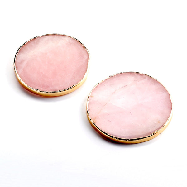 ROSE QUARTZ GOLD TRIM COASTERS