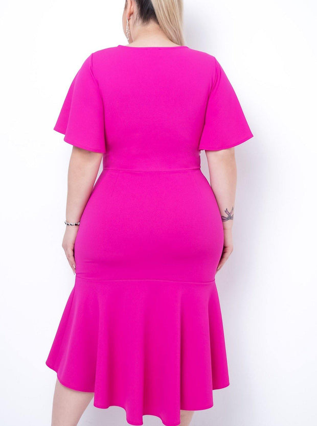 Only Desire Midi Ruffle Dress- Fuchsia  | Women Fashion Dress | Mo's Unique Fashion LLC