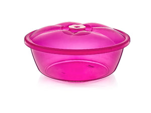 Transparent plastic round bowl with lid
