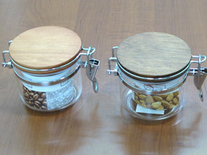 Acrylic Round Jar with wooden lid; 0.4 lt - HouzeCart