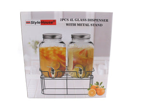 Double Glass Beverage Dispenser; 4 lt - HouzeCart