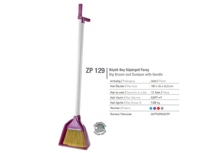 Large Broom with Deep Dustpan