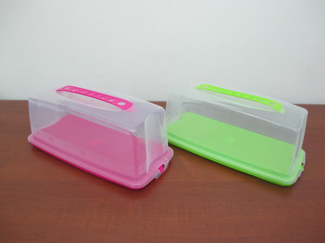Plastic Rectangular Cake Holder with Lid