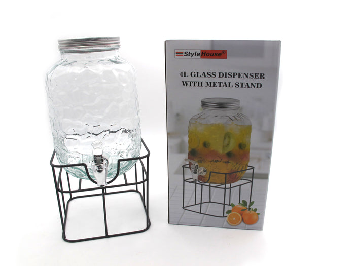 Coral Glass Beverage Dispenser