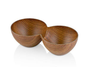 TWIN SNACK BOWL WITH WOODEN FINISH - HouzeCart