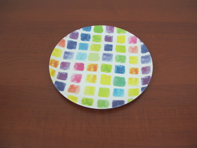 Colorful Squares Melamine Dinner Plates X6