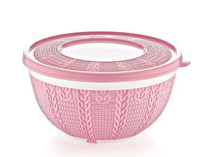 Knit design plastic bowl with cover; 0.25 lt X2 - HouzeCart