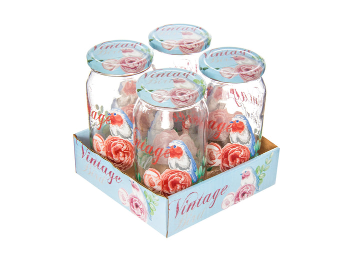 Birds Vintage Jars Set; 1000 ml