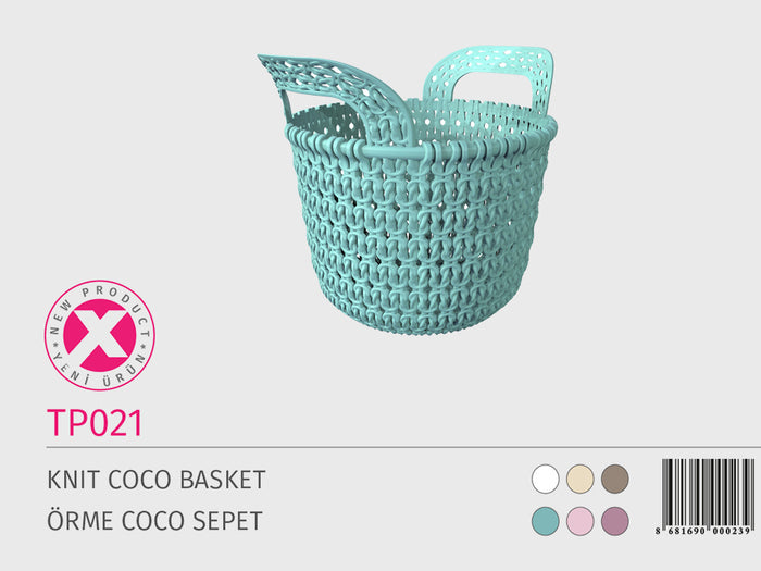 Knit Design Plastic Basket with handles