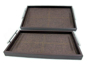 Large Leather with Fabric Serving Tray