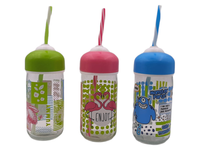 Bubble Decorated Bottle With Straw, 0.37lt