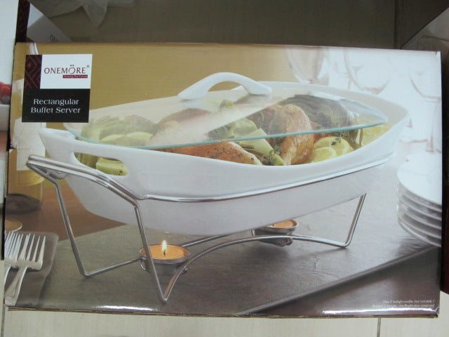 Rectangular Buffet Server with Glass Lid