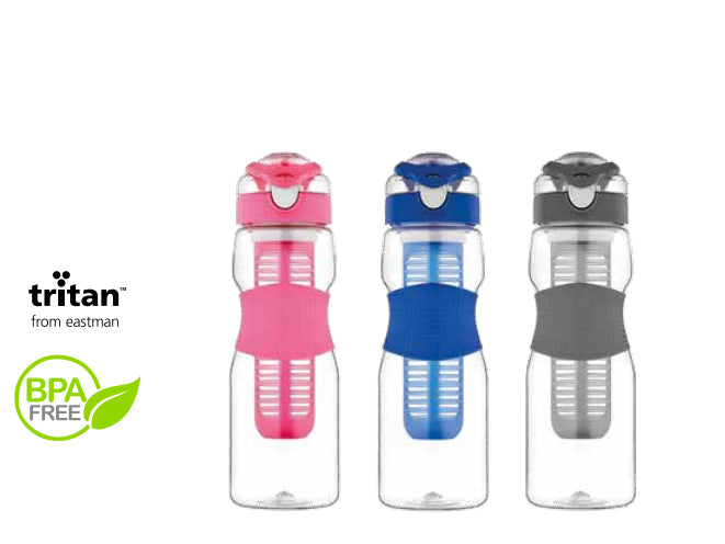 Plastic Drink Bottle with Infuser an Silicon Wrap