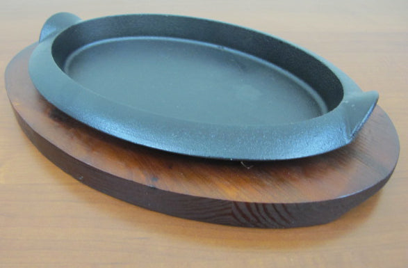 Oval Sizzling Platter with wooden base