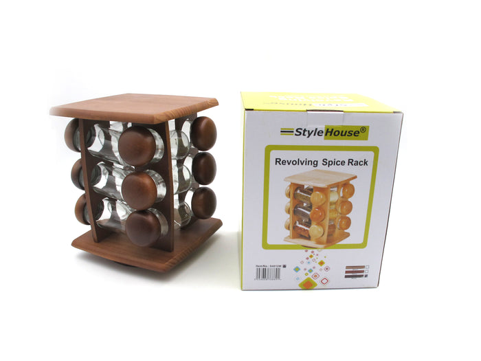 12 pcs wooden rotating spice rack
