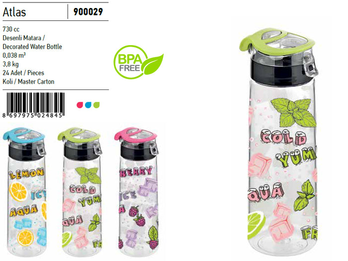 Decorated Plastic Water Bottle, 0.73lt