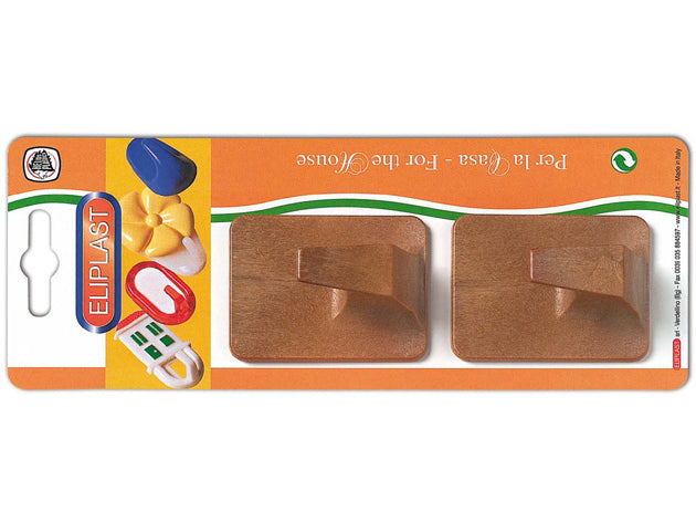 Wooden Adhesive Hook x2