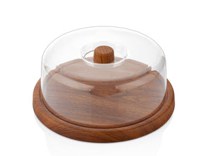 Plastic Round Catering Board with Lid, Wooden finish - HouzeCart