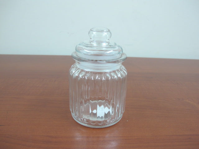 Small Glass Jar Lined Design