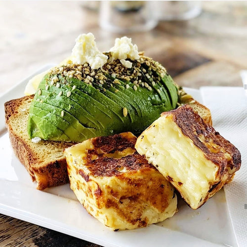 Gluten Free Avo on toast with Halloumi