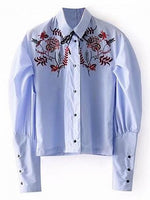 Blue Stripe Shirt Collar Embroidery Detail Bubble Sleeve Shirt