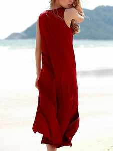 Red Cut Out Thigh Split Sleeveless Chic Women Midi Dress