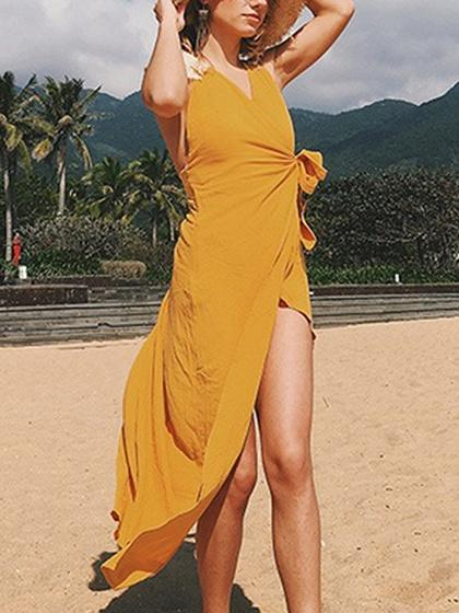 Women's Yellow V-neck Side Split Backless Beach Dress