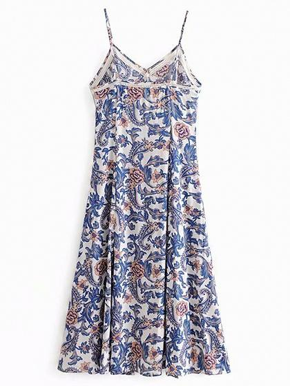 Polychrome Cotton Blend V-neck Floral Print Chic Women Cami Maxi Dress