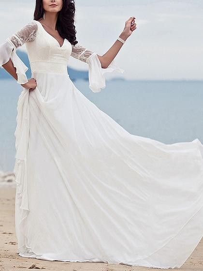 White V-neck Beaded Detail Flare Sleeve Chic Women Lace Maxi Dress